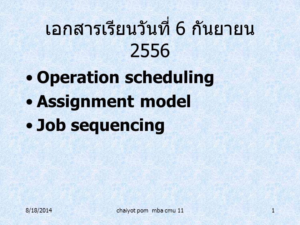 8/18/2014chaiyot pom mba cmu 111 เอกสารเรียนวันที่ 6 กันยายน 2556 Operation scheduling Assignment model Job sequencing