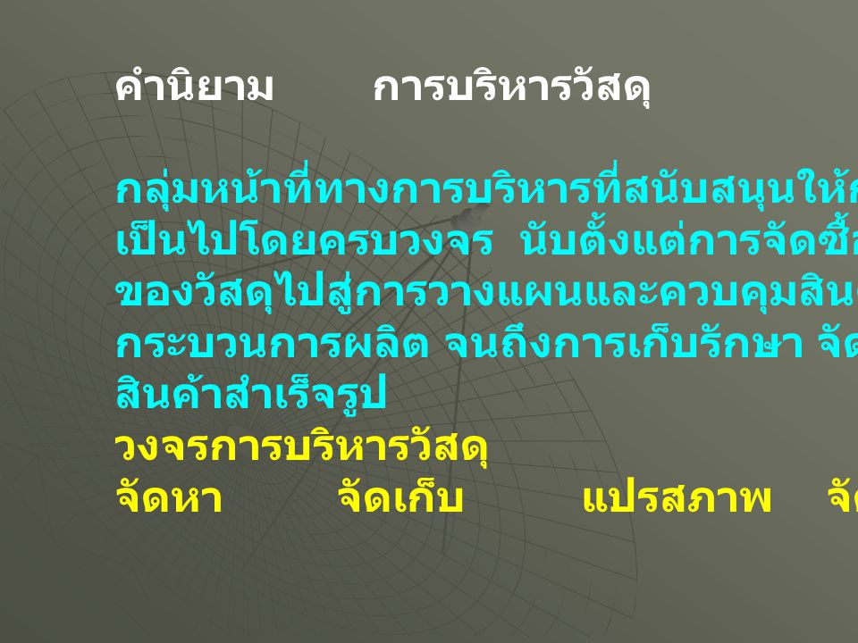 เอกสารเรียนวันที่ 20 มกราคม 2555 การบริหารวัสดุ คำนิยาม วัตถุประสงค์ การจัดซื้อ อุปสงค์อิสระและไม่อิสระ การวางแผนความต้องการวัสดุ จุดมุ่งหมาย วัตถุประสงค์ และปรัชญา ข้อดี ข้อเสีย โครงสร้าง