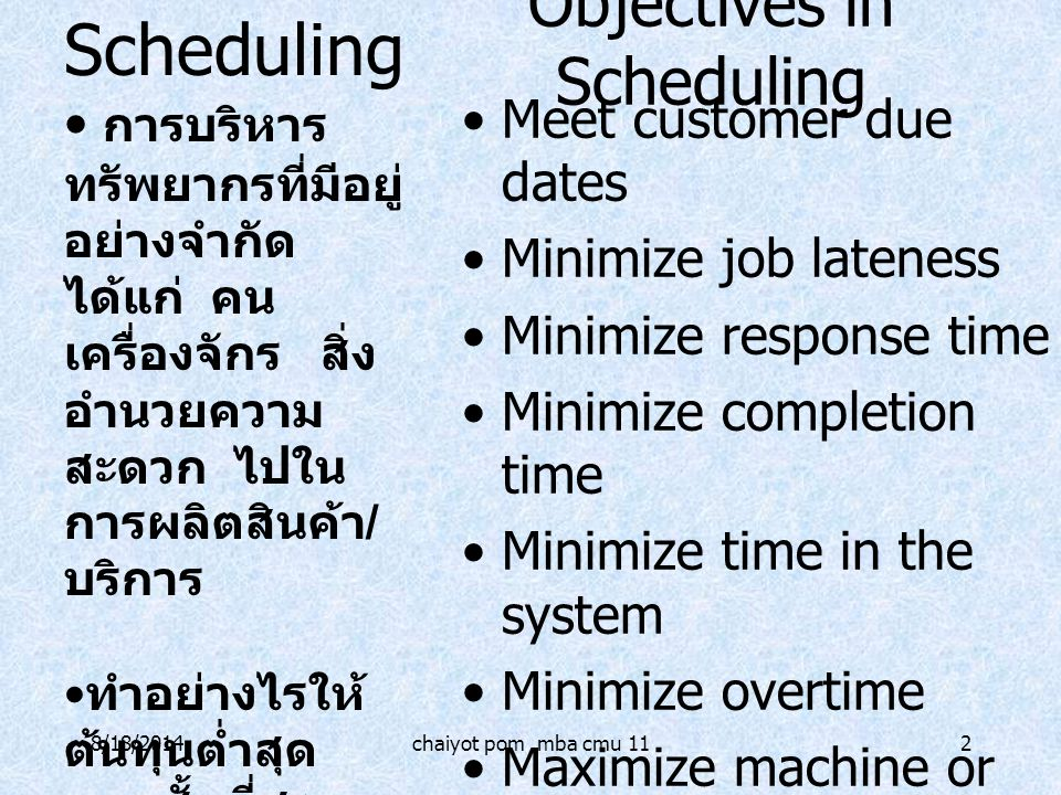 8/18/2014chaiyot pom mba cmu 112 Objectives in Scheduling Meet customer due dates Minimize job lateness Minimize response time Minimize completion tim