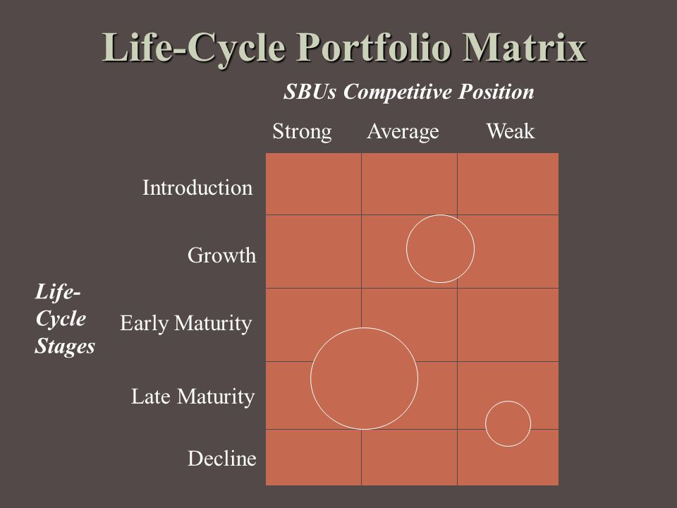 Strong Average Weak SBUs Competitive Position Life-Cycle Portfolio Matrix Introduction Growth Early Maturity Late Maturity Decline Life- Cycle Stages