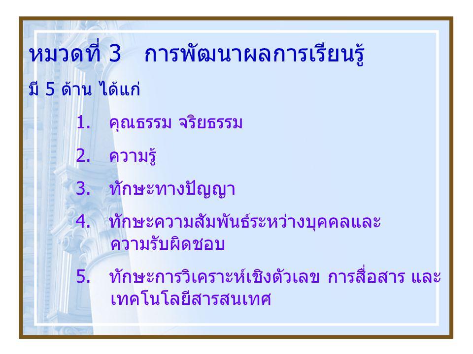หมวดที่ 3 การพัฒนาผลการเรียนรู้ มี 5 ด้าน ได้แก่ 1. คุณธรรม จริยธรรม 2. ความรู้ 3. ทักษะทางปัญญา 4. ทักษะความสัมพันธ์ระหว่างบุคคลและ ความรับผิดชอบ 5.