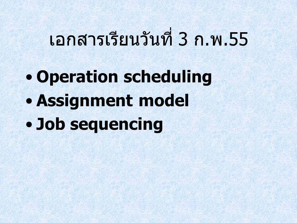 เอกสารเรียนวันที่ 3 ก. พ.55 Operation scheduling Assignment model Job sequencing