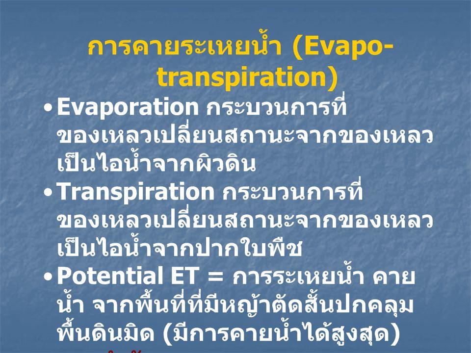 การคายระเหยน้ำ (Evapo- transpiration) Evaporation กระบวนการที่ ของเหลวเปลี่ยนสถานะจากของเหลว เป็นไอน้ำจากผิวดิน Transpiration กระบวนการที่ ของเหลวเปลี