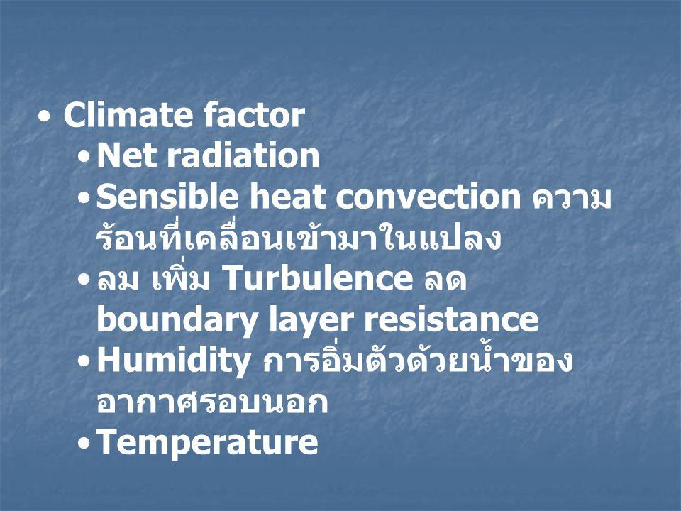Climate factor Net radiation Sensible heat convection ความ ร้อนที่เคลื่อนเข้ามาในแปลง ลม เพิ่ม Turbulence ลด boundary layer resistance Humidity การอิ่