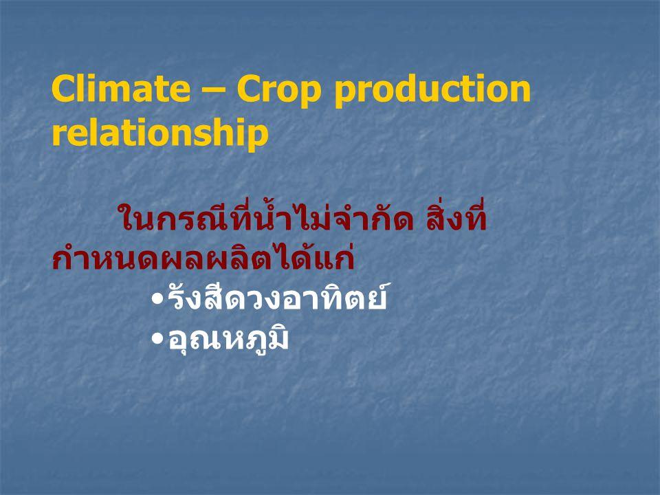 Climate – Crop production relationship ในกรณีที่น้ำไม่จำกัด สิ่งที่ กำหนดผลผลิตได้แก่ รังสีดวงอาทิตย์ อุณหภูมิ