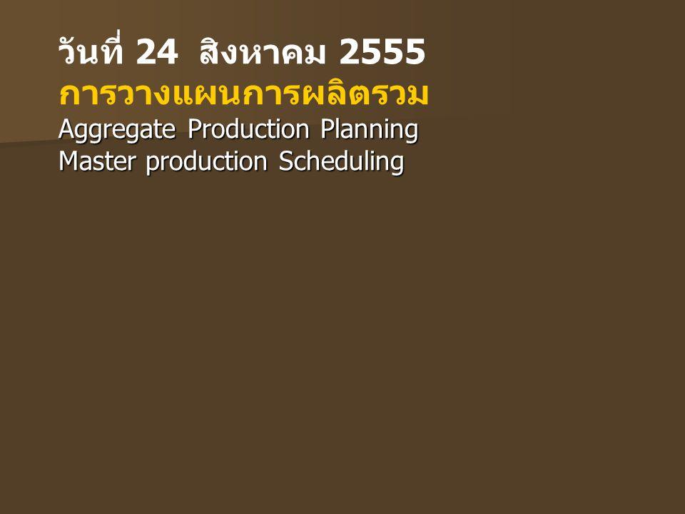 วันที่ 24 สิงหาคม 2555 การวางแผนการผลิตรวม Aggregate Production Planning Master production Scheduling