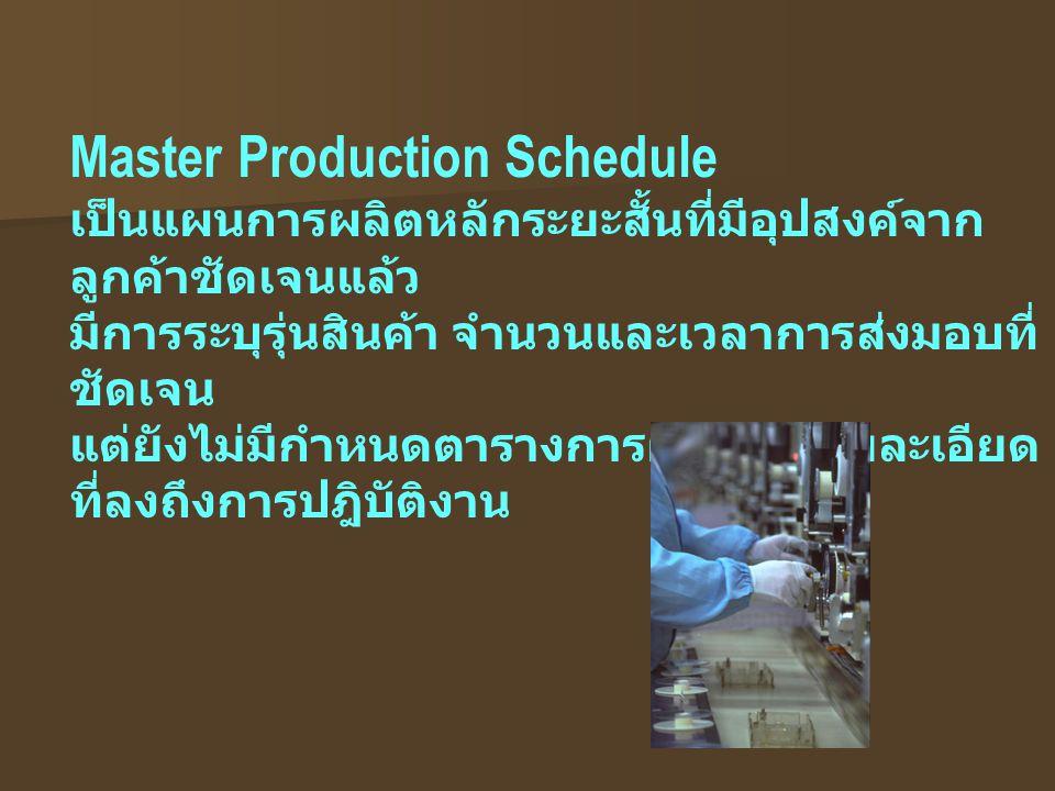 Master Production Schedule เป็นแผนการผลิตหลักระยะสั้นที่มีอุปสงค์จาก ลูกค้าชัดเจนแล้ว มีการระบุรุ่นสินค้า จำนวนและเวลาการส่งมอบที่ ชัดเจน แต่ยังไม่มีก