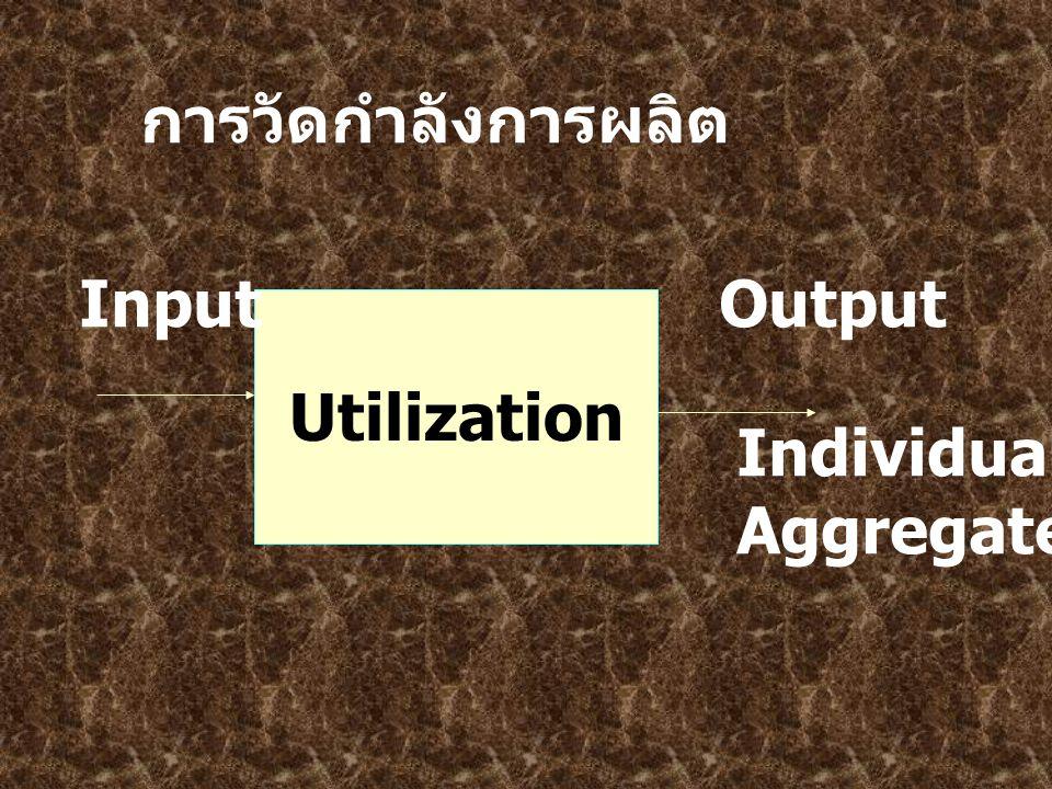 การวัดกำลังการผลิต Utilization InputOutput Individual Aggregate unit