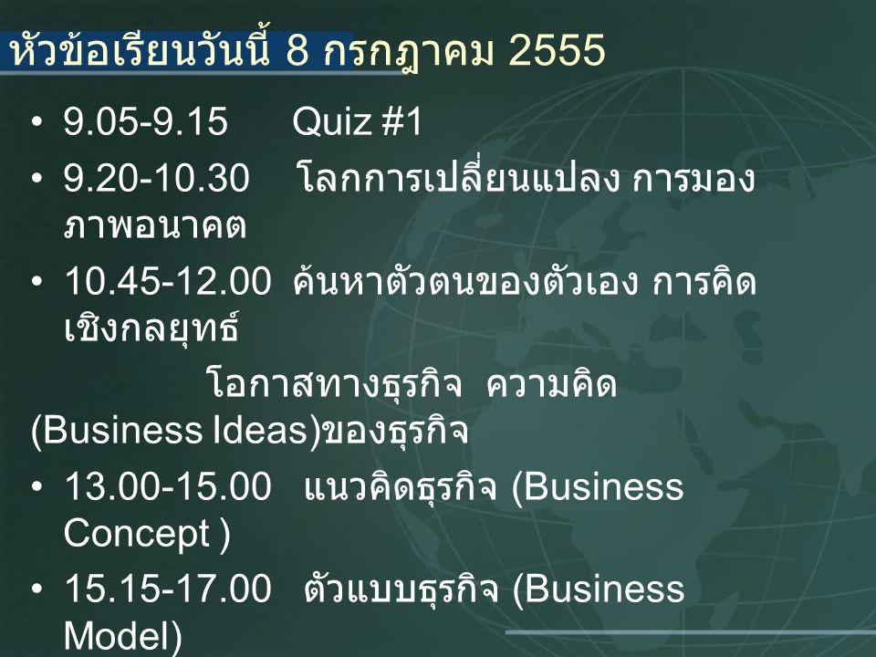 หัวข้อเรียนวันนี้ 8 กรกฎาคม 2555 9.05-9.15 Quiz #1 9.20-10.30 โลกการเปลี่ยนแปลง การมอง ภาพอนาคต 10.45-12.00 ค้นหาตัวตนของตัวเอง การคิด เชิงกลยุทธ์ โอกาสทางธุรกิจ ความคิด (Business Ideas) ของธุรกิจ 13.00-15.00 แนวคิดธุรกิจ (Business Concept ) 15.15-17.00 ตัวแบบธุรกิจ (Business Model)
