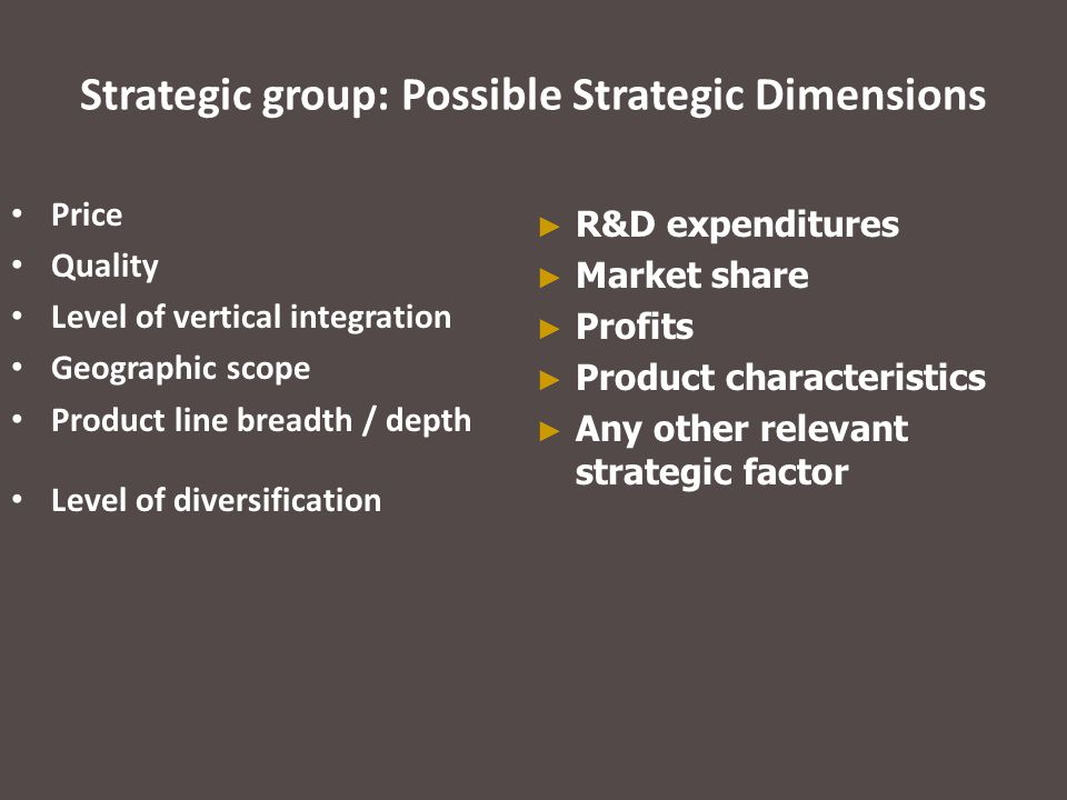 Strategic group: Possible Strategic Dimensions Price Quality Level of vertical integration Geographic scope Product line breadth / depth Level of dive