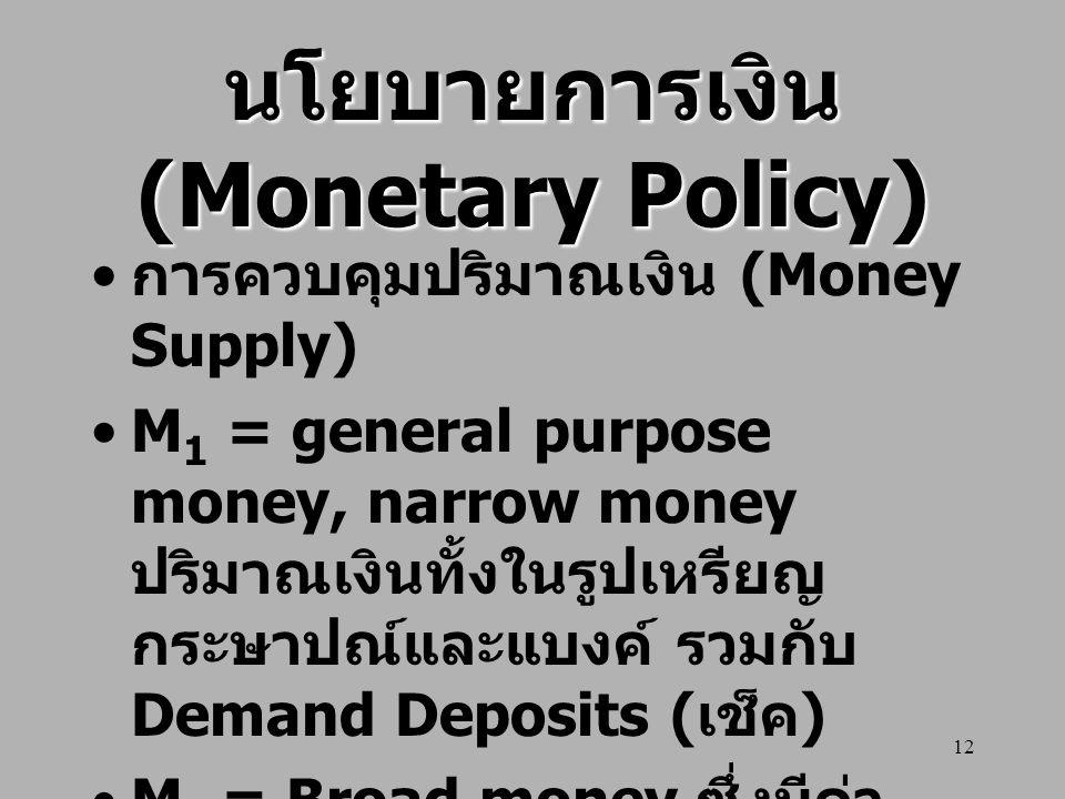 12 นโยบายการเงิน (Monetary Policy) การควบคุมปริมาณเงิน (Money Supply) M 1 = general purpose money, narrow money ปริมาณเงินทั้งในรูปเหรียญ กระษาปณ์และแ