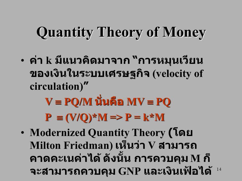 "14 Quantity Theory of Money ค่า k มีแนวคิดมาจาก "" การหมุนเวียน ของเงินในระบบเศรษฐกิจ (velocity of circulation)"" V  PQ/M นั่นคือ MV  PQ P  (V/Q)*M ="