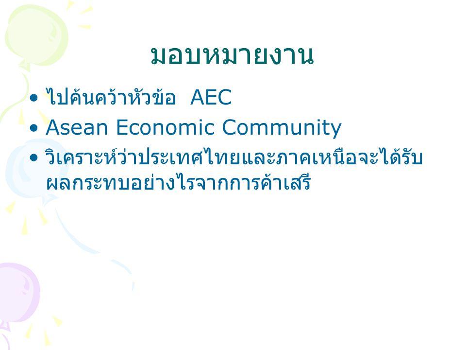 มอบหมายงาน ไปค้นคว้าหัวข้อ AEC Asean Economic Community วิเคราะห์ว่าประเทศไทยและภาคเหนือจะได้รับ ผลกระทบอย่างไรจากการค้าเสรี
