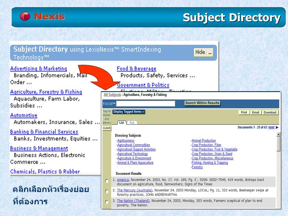 คลิกเลือกหัวเรื่องย่อย ที่ต้องการ Subject Directory