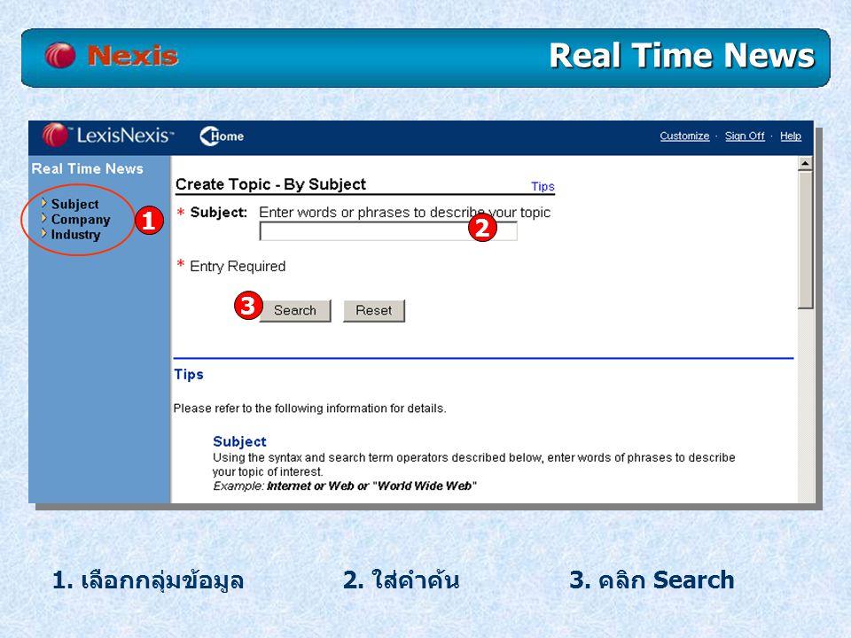 Real Time News คลิก Save Topic