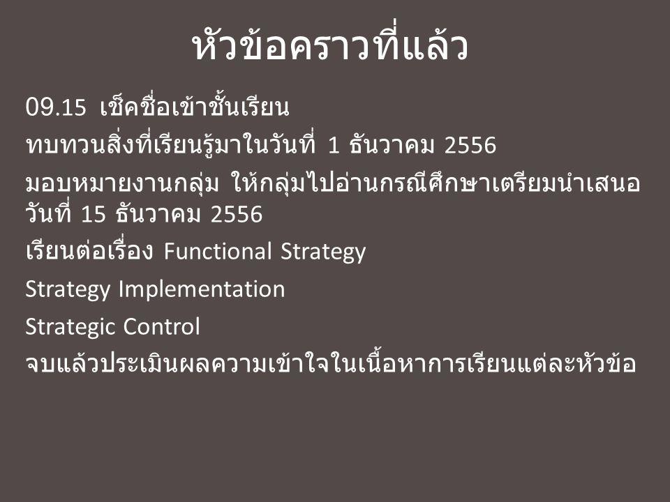 ทบทวนสิ่งที่เรียนมาวันที่ 8 ธันวาคม 2556 Functional Strategy What to perform.