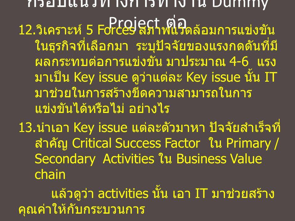 กรอบแนวทางการทำงาน Dummy Project ต่อ 12. วิเคราะห์ 5 Forces สภาพแวดล้อมการแข่งขัน ในธุรกิจที่เลือกมา ระบุปัจจัยของแรงกดดันที่มี ผลกระทบต่อการแข่งขัน ม