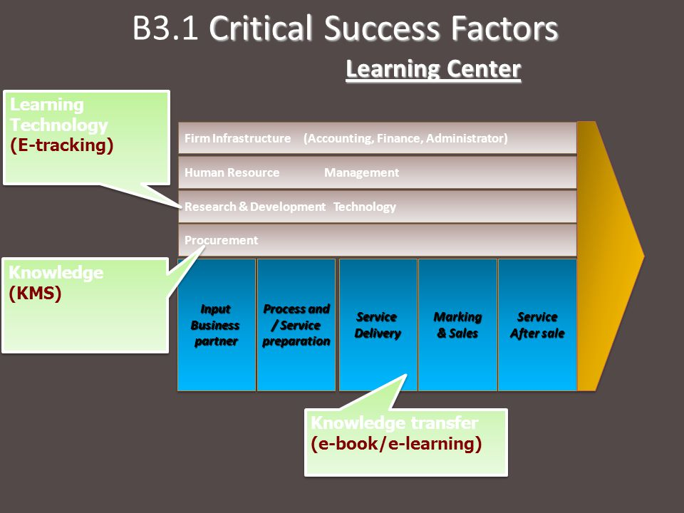 Critical Success Factors B3.1 Critical Success Factors Learning Center InputBusinesspartnerInputBusinesspartner Process and / Service preparation Process and / Service preparationServiceDeliveryServiceDeliveryMarking & Sales Marking Service After sale Service Procurement Research & Development Technology Human Resource Management Firm Infrastructure (Accounting, Finance, Administrator) Learning Technology (E-tracking) Learning Technology (E-tracking) Knowledge (KMS) Knowledge transfer (e-book/e-learning)