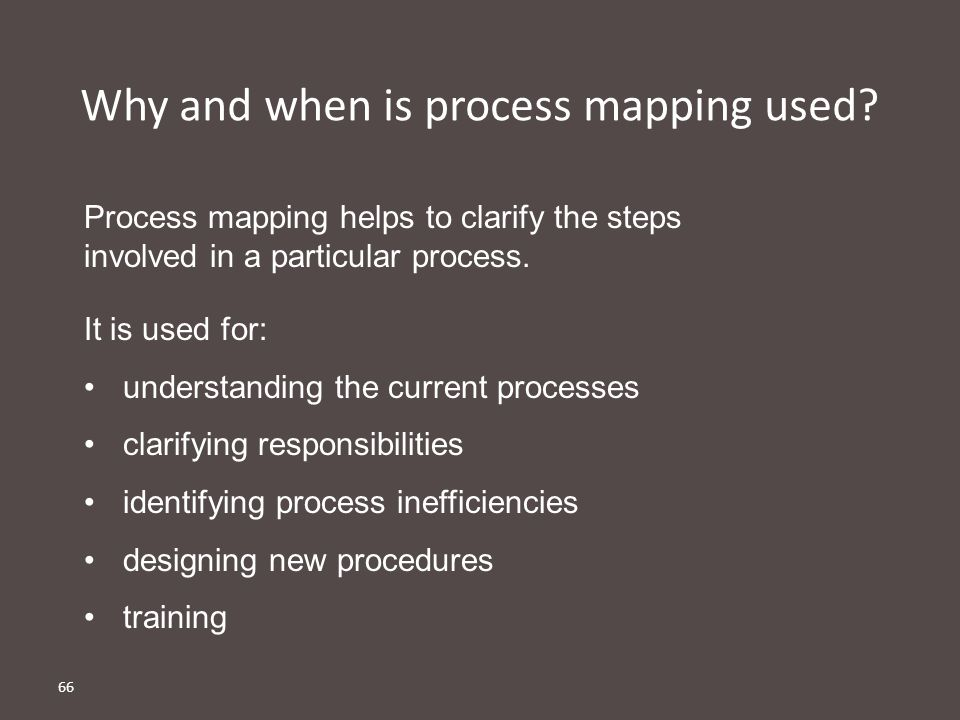 66 Why and when is process mapping used.