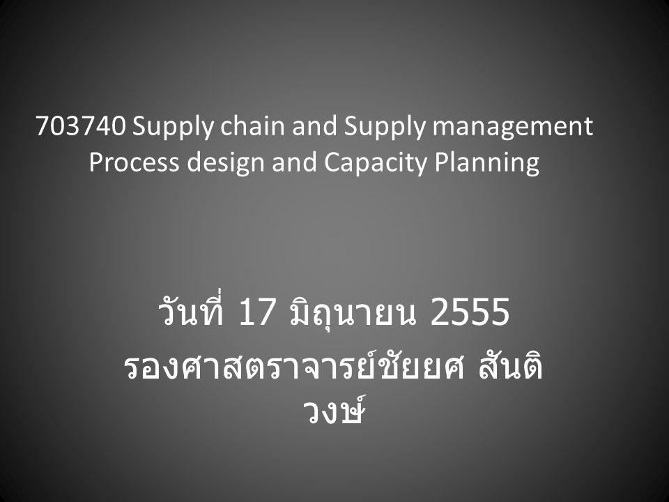 703740 Supply chain and Supply management Process design and Capacity Planning วันที่ 17 มิถุนายน 2555 รองศาสตราจารย์ชัยยศ สันติ วงษ์