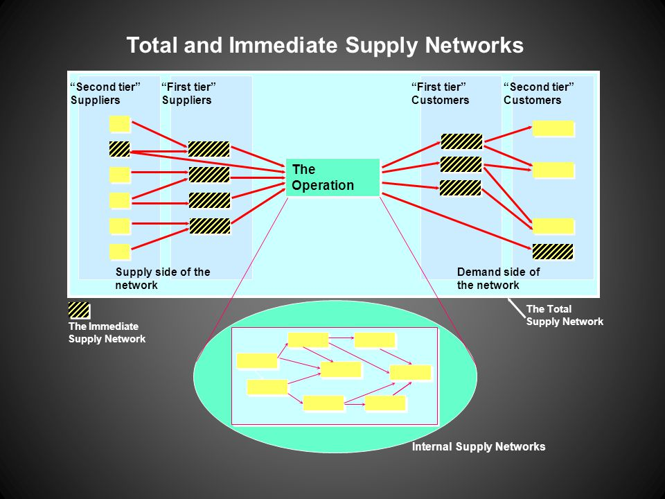"Total and Immediate Supply Networks ""Second tier"" Suppliers ""First tier"" Suppliers ""Second tier"" Customers ""First tier"" Customers The Operation Supply"