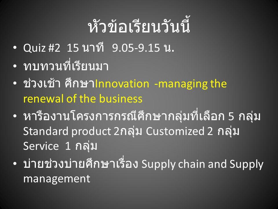 หัวข้อเรียนวันนี้ Quiz #2 15 นาที 9.05-9.15 น. ทบทวนที่เรียนมา ช่วงเช้า ศึกษา Innovation -managing the renewal of the business หารืองานโครงการกรณีศึกษ