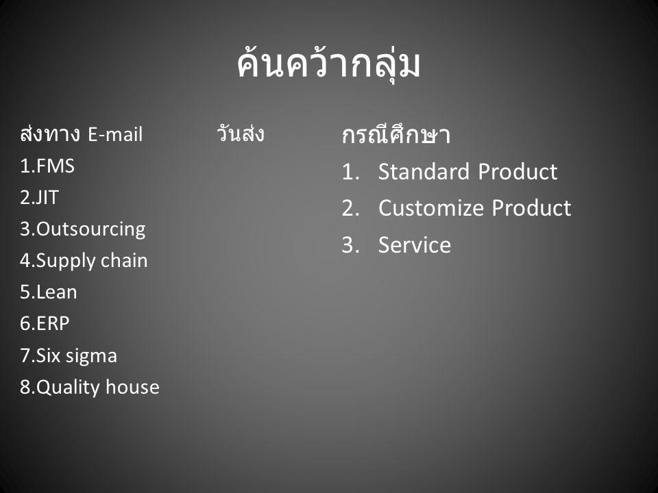 ค้นคว้ากลุ่ม ส่งทาง E-mail วันส่ง 1.FMS 2.JIT 3.Outsourcing 4.Supply chain 5.Lean 6.ERP 7.Six sigma 8.Quality house กรณีศึกษา 1.Standard Product 2.Cus