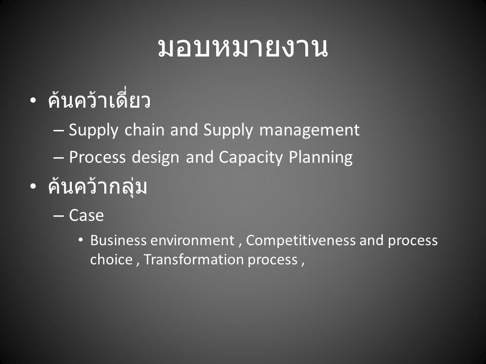 มอบหมายงาน ค้นคว้าเดี่ยว – Supply chain and Supply management – Process design and Capacity Planning ค้นคว้ากลุ่ม – Case Business environment, Competi