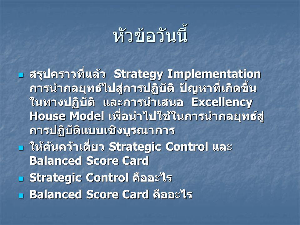 หัวข้อวันนี้ สรุปคราวที่แล้ว Strategy Implementation การนำกลยุทธ์ไปสู่การปฏิบัติ ปัญหาที่เกิดขึ้น ในทางปฏิบัติ และการนำเสนอ Excellency House Model เพื