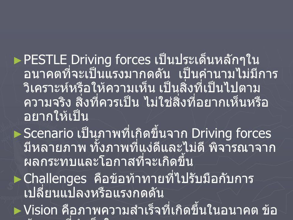 ► ► PESTLE Driving forces เป็นประเด็นหลักๆใน อนาคตที่จะเป็นแรงมากดดัน เป็นคำนามไม่มีการ วิเคราะห์หรือให้ความเห็น เป็นสิ่งที่เป็นไปตาม ความจริง สิ่งที่