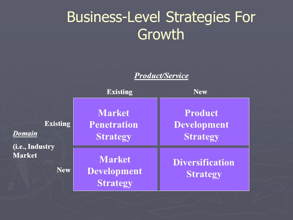 Business-Level Strategies For Growth Market Penetration Strategy Product Development Strategy Market Development Strategy Diversification Strategy Exi