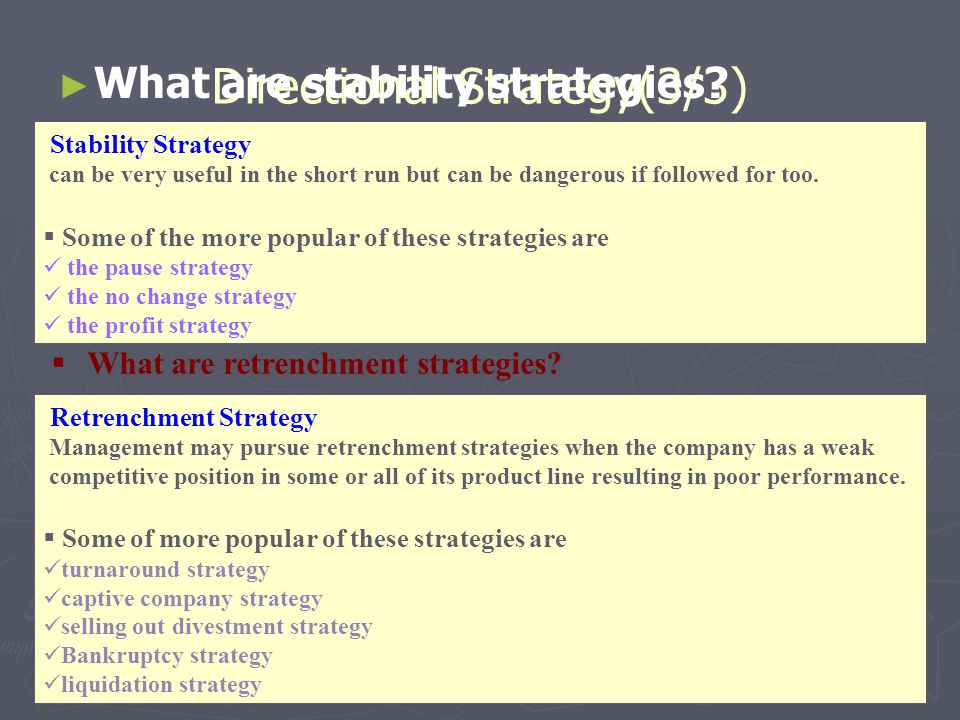 27 Directional Strategy(3/3) ► ► What are stability strategies? Stability Strategy can be very useful in the short run but can be dangerous if followe