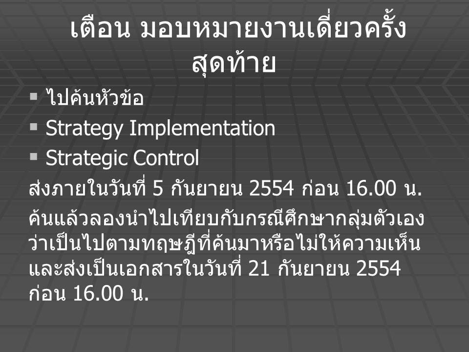 เตือน มอบหมายงานเดี่ยวครั้ง สุดท้าย   ไปค้นหัวข้อ   Strategy Implementation   Strategic Control ส่งภายในวันที่ 5 กันยายน 2554 ก่อน 16.00 น. ค้นแ