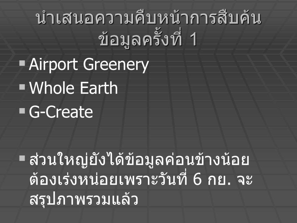 นำเสนอความคืบหน้าการสืบค้น ข้อมูลครั้งที่ 1   Airport Greenery   Whole Earth   G-Create   ส่วนใหญ่ยังได้ข้อมูลค่อนข้างน้อย ต้องเร่งหน่อยเพราะว