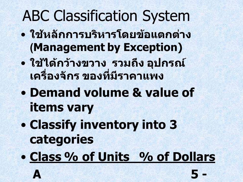 ABC Classification System ใช้หลักการบริหารโดยข้อแตกต่าง (Management by Exception) ใช้ได้กว้างขวาง รวมถึง อุปกรณ์ เครื่องจักร ของที่มีราคาแพง Demand vo