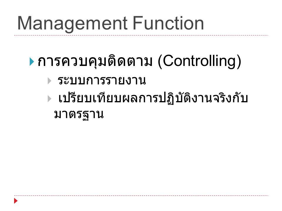 Management Function  การควบคุมติดตาม (Controlling)  ระบบการรายงาน  เปรียบเทียบผลการปฏิบัติงานจริงกับ มาตรฐาน