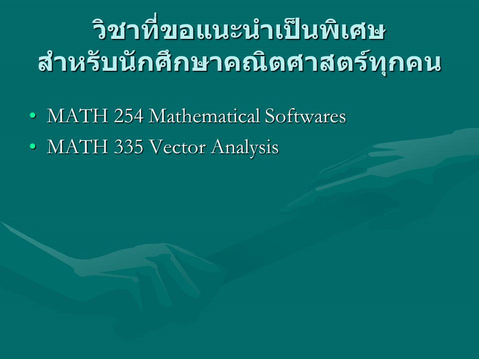 วิชาที่ขอแนะนำเป็นพิเศษ สำหรับนักศึกษาคณิตศาสตร์ทุกคน MATH 254 Mathematical SoftwaresMATH 254 Mathematical Softwares MATH 335 Vector AnalysisMATH 335