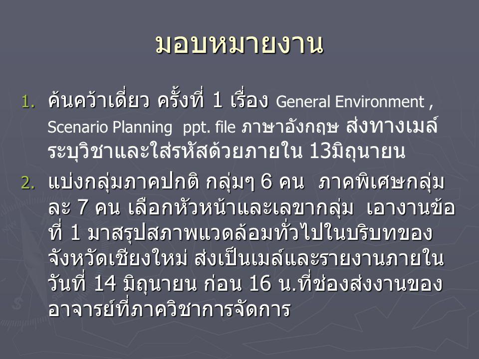 มอบหมายงาน 1. ค้นคว้าเดี่ยว ครั้งที่ 1 เรื่อง 1. ค้นคว้าเดี่ยว ครั้งที่ 1 เรื่อง General Environment, Scenario Planning ppt. file ภาษาอังกฤษ ส่งทางเมล