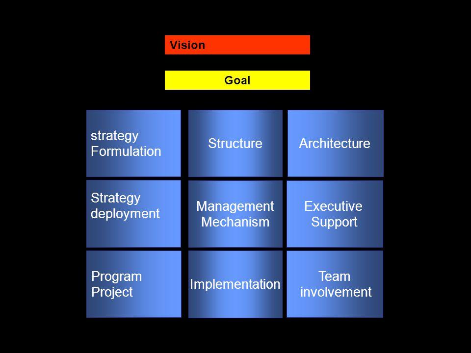 Executive Support Strategy deployment Management Mechanism Team involvement Program Project Implementation Architecture strategy Formulation Structure