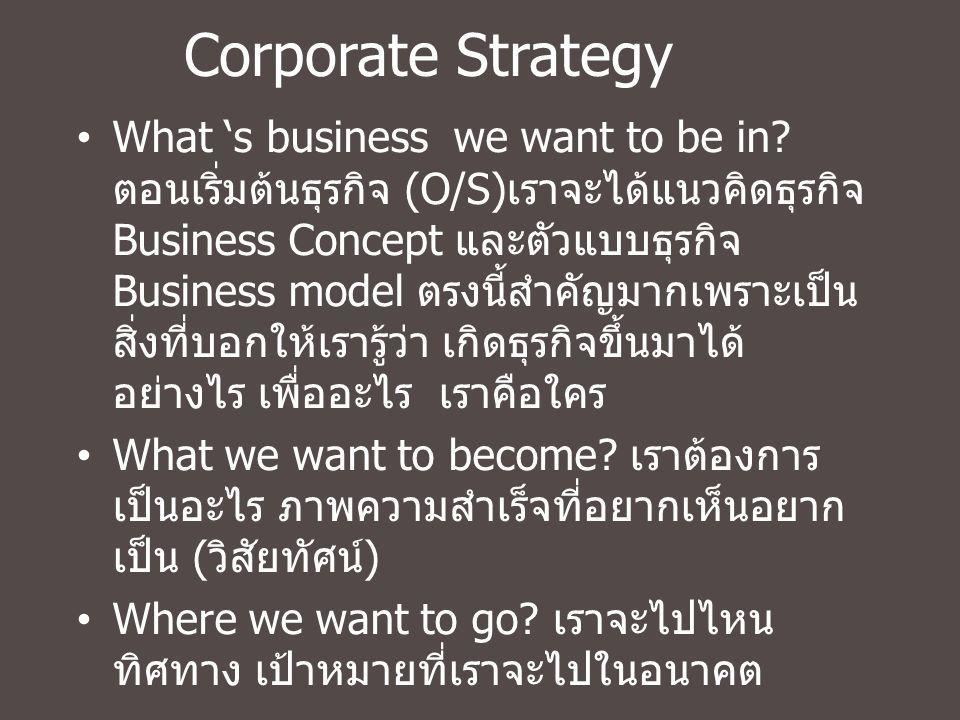 Corporate Strategy What 's business we want to be in? ตอนเริ่มต้นธุรกิจ (O/S) เราจะได้แนวคิดธุรกิจ Business Concept และตัวแบบธุรกิจ Business model ตรง
