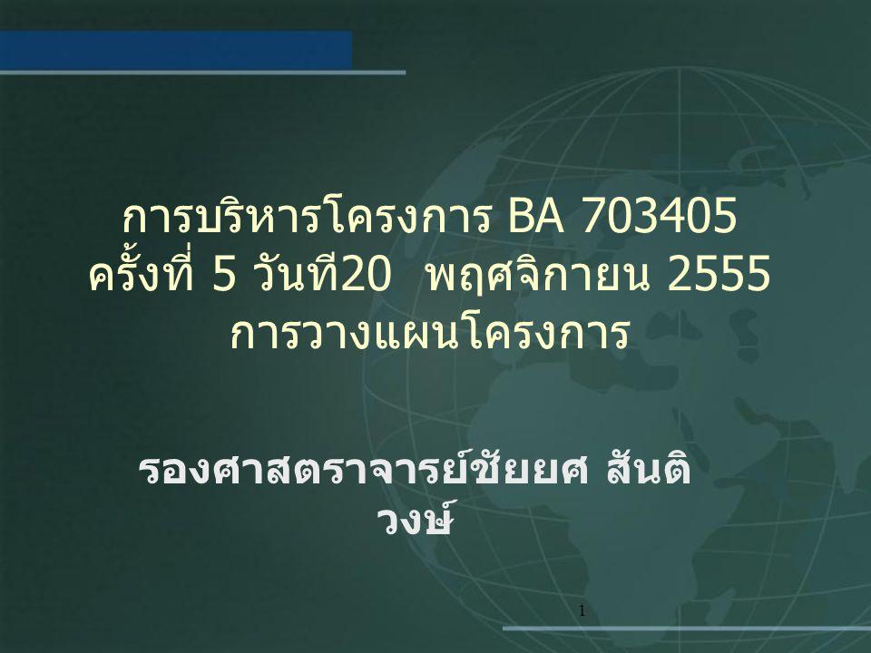 1 การบริหารโครงการ BA 703405 ครั้งที่ 5 วันที 20 พฤศจิกายน 2555 การวางแผนโครงการ รองศาสตราจารย์ชัยยศ สันติ วงษ์