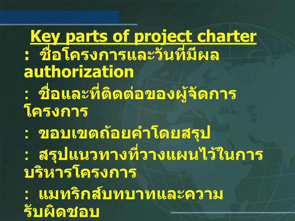 Key parts of project charter : ชื่อโครงการและวันที่มีผล authorization : ชื่อและที่ติดต่อของผู้จัดการ โครงการ : ขอบเขตถ้อยคำโดยสรุป : สรุปแนวทางที่วางแผนไว้ในการ บริหารโครงการ : แมทริกส์บทบาทและความ รับผิดชอบ : ลงนามของผู้มีส่วนได้เสียหลัก : ส่วนข้อเสนอแนะ