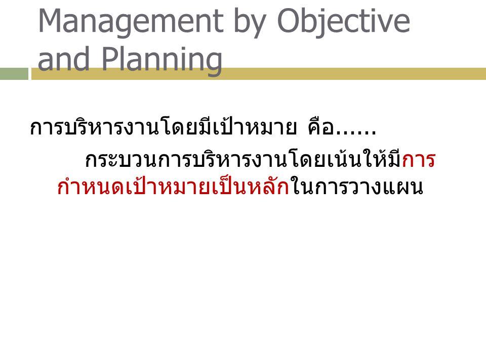 Management by Objective and Planning การบริหารงานโดยมีเป้าหมาย คือ...... กระบวนการบริหารงานโดยเน้นให้มีการ กำหนดเป้าหมายเป็นหลักในการวางแผน