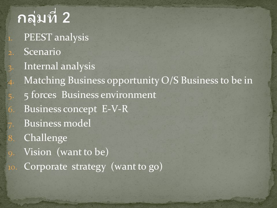 1. PEEST analysis 2. Scenario 3. Internal analysis 4. Matching Business opportunity O/S Business to be in 5. 5 forces Business environment 6. Business