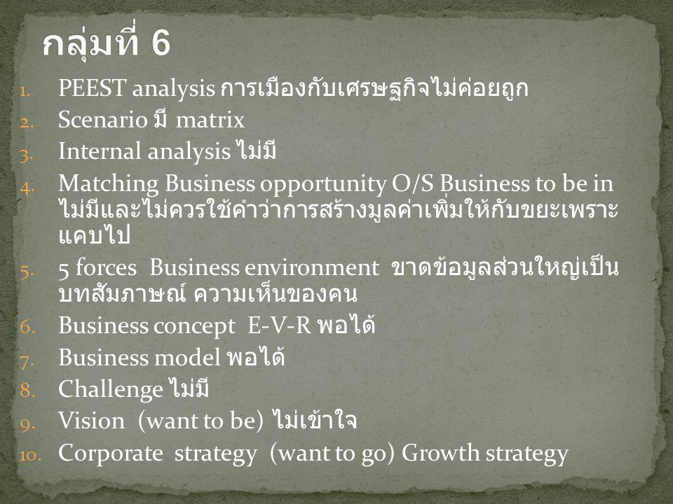 1. PEEST analysis การเมืองกับเศรษฐกิจไม่ค่อยถูก 2. Scenario มี matrix 3. Internal analysis ไม่มี 4. Matching Business opportunity O/S Business to be i