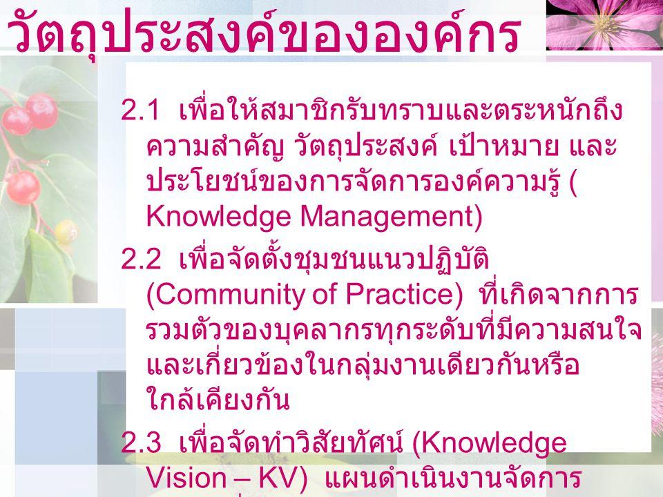 วัตถุประสงค์ขององค์กร 2.4 เพื่อให้สมาชิกของชุมชนมีพื้น ฐานความรู้ร่วมกัน และสามารถพัฒนาการ ปฏิบัติงานร่วมกันสู่ความเป็นเลิศ (Best Practice) 2.5 เพื่อให้ชุมชนมีส่วนร่วมสนับสนุนการ ดำเนินงานของมหาวิทยาลัยตามพระราช กฤษฎีกาว่าด้วยหลักเกณฑ์และวิธีการ บริหารกิจการบ้านเมืองที่ดี พ.