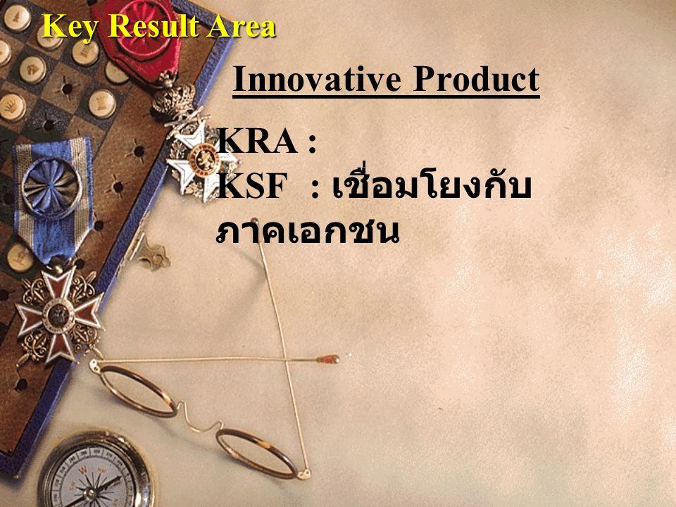 Key Result Area KRA : KSF : เชื่อมโยงกับ ภาคเอกชน Innovative Product