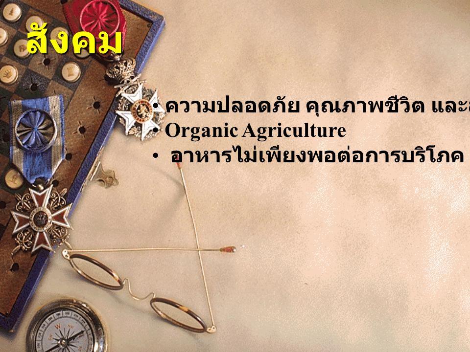 สังคม ความปลอดภัย คุณภาพชีวิต และสุขภาพ ของผู้บริโภค Organic Agriculture อาหารไม่เพียงพอต่อการบริโภค