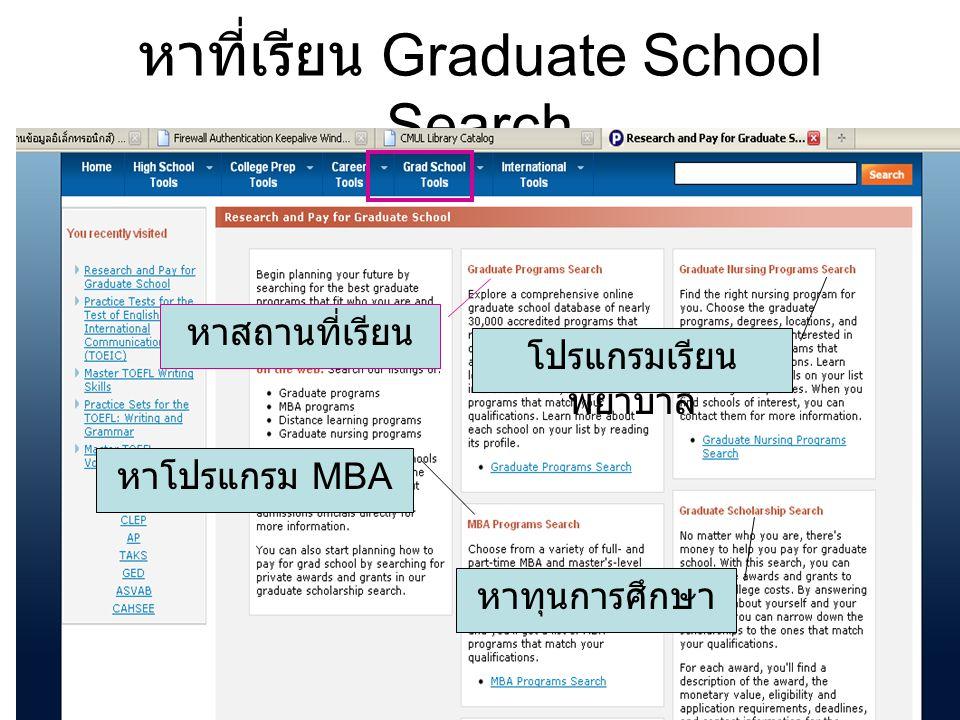 หาที่เรียน Graduate School Search หาสถานที่เรียน หาโปรแกรม MBA โปรแกรมเรียน พยาบาล หาทุนการศึกษา