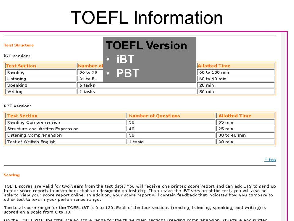 TOEFL Information TOEFL Version iBT PBT